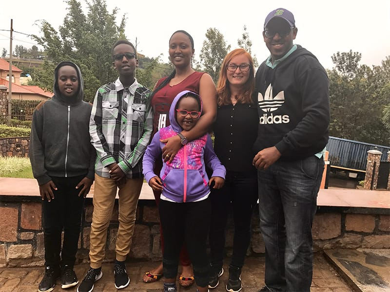 Brittany Fried and her host family in Rwanda