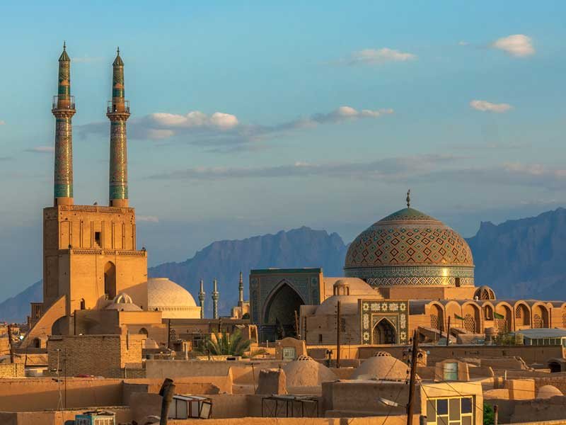 Sunset over the ancient city of Yazd, Iran